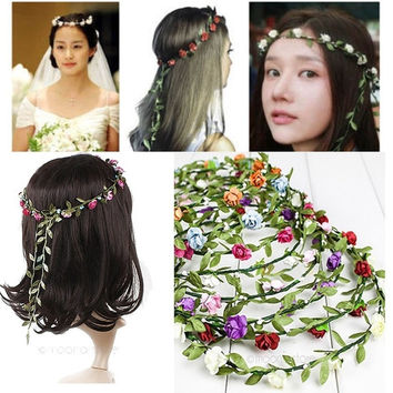 Stylish Women Sweet Boho Style Bride Bridesmaid Floral Headband Flower Hairband Festival Wedding Beach Hot Sale