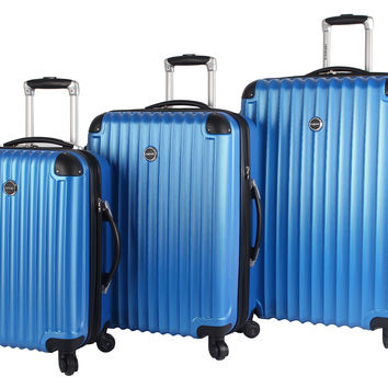 Lucas Outlander Luggage Hard Case 3 Piece Expandable Rolling Suitcase Sets With Spinner Wheels Blue One Size '