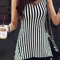 Striped Scoop Neck Mesh Tank Top