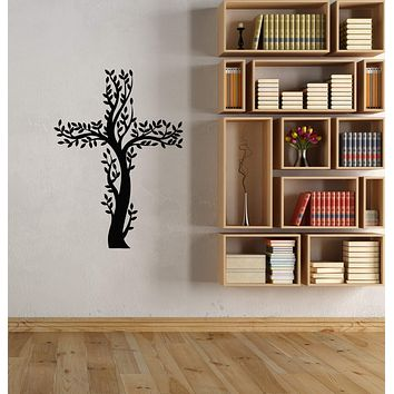 Vinyl Wall Decal Catholicism Cross Prayer Room Tree Branch Stickers (3110ig)