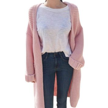 Long Cardigan. Long-Sleeve, Loose Fit, Thick Knit Cardigan Sweater