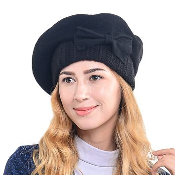 Wimdream 100% Wool Beret Parisian French Solid Beanie Hat For Women HY022