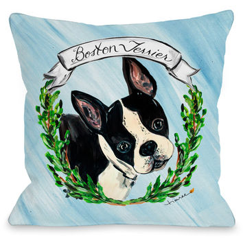 """""""Boston Terrier"""" Indoor Throw Pillow by Timree Gold, 16""""x16"""""""