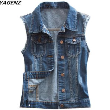 Female Denim Vest New Spring Autumn Jacket Vintage Jeans Vest Short Jacket Plus Size 4XL Women Clothing Casual Jean Coat YAGENZ