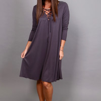 Catch Me When I Fall Dress {Charcoal}