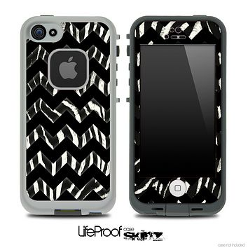 Real Zebra & Opaque Black V6 Chevron Pattern Skin for the iPhone 5 or 4/4s LifeProof Case