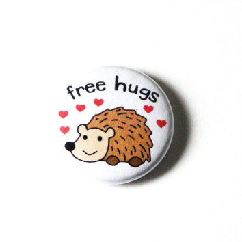 Animal Pins Buttons Porcupine Free Hugs Red Hearts Cute Accessories Pinback Buttons Fun Pins