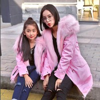 PEAPUNT Children Faux  Fox Fur Coat Baby Winter Warm Family Matching Outfits Coat High-quality Faux Fox Fur Clothes Kids Coats ACT-03