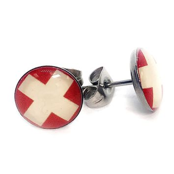 ON SALE - Swiss Flag Enamel Button Stud Earrings