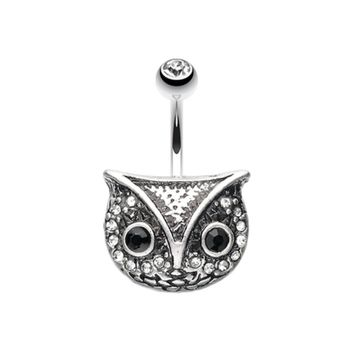 Vintage Owl Belly Button Ring