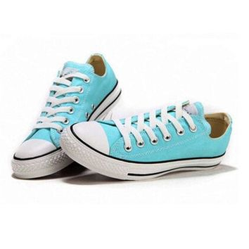 """""""Converse"""" Girl Boy Fashion Canvas Flats Sneakers Sport Shoes Low tops Light blue"""
