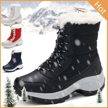 2017 Women Snow Boots Winter Warm Boots Shoes Thick Bottom Platform Waterproof Ankle Boots for Women