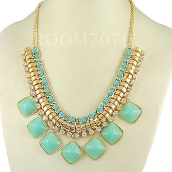 mint teal Statement Necklace  turquoise crytals Bib Bubble Necklace Rhinestone Necklace Cluster Necklace Bubble necklace -EU1