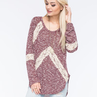 BLU PEPPER Lace Inset Womens Sweater | Pullovers