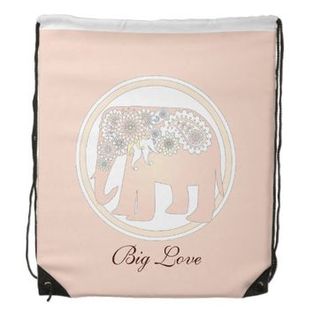 Pastel Rose Pink Paisley Elephant Cute Elegant Cinch Bag