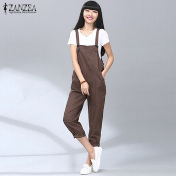 2016 ZANZEA Fashion Autumn Rompers Womens Jumpsuit Vintage Solid Casual Cotton Bib Pants Overalls Long Playsuit Plus Size S-5XL