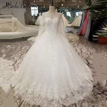 modabelle Robe De Bal New Arrival 2018 Vintage Wedding Dress Lace Shop Online Wedding Gowns With Sleeves Sheer Long Bridal Dress