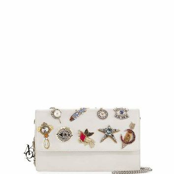 Alexander McQueen Charm Leather Chain-Strap Pouch, Ivory