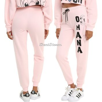 Licensed cool DISNEY Lilo & Stitch OHANA Family Pink Joggers Lounge Pants Pajamas JRS. S-XL