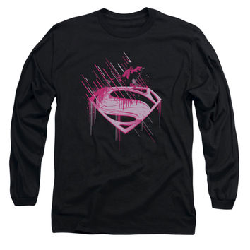 Superman Men's  Pink Splatter Long Sleeve Black Rockabilia