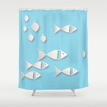 Fishes & Waves Shower Curtain by Mirimo