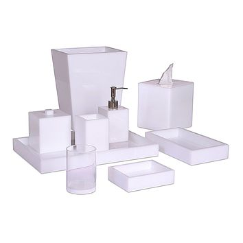 Ice White Lucite Bath Accessories by Mike + Ally