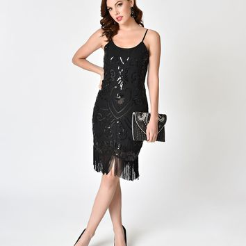 Black Sequin Sleeveless Fringe Short Cocktail Dress