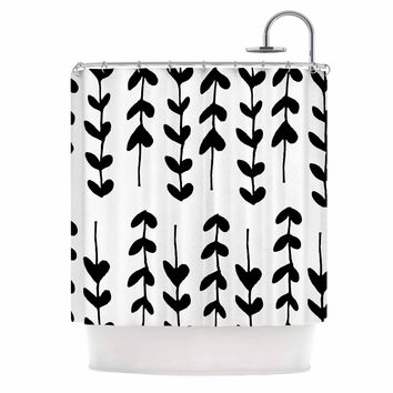 "bruxamagica ""Black And White Vines"" Black White Pattern Floral Digital Mixed Media Shower Curtain"