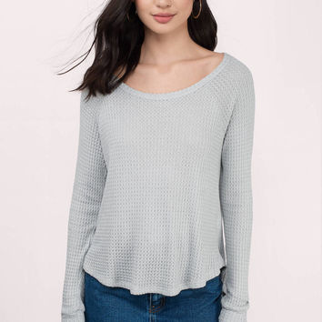 Brittany Waffle Knit Long Sleeve Top