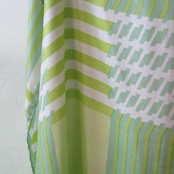 Vintage Echo Green & Chartreuse Silk Scarf - Large Striped Green Silk Scarf - Retro Green Scarf by Echo