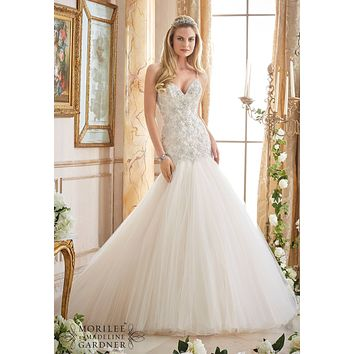 Mori Lee 2874 Beaded Fit and Flare Sample Sale Wedding Dress