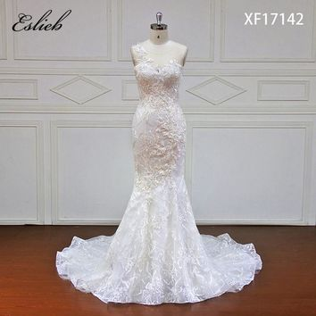 Eslieb High-end Dream Elegant Appliques Lace Mermaid Wedding Dresses 2018 Sexy Cap Sleeve Trumpet China Bridal Gown Plus Size