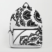 Black and White Mandala | Flower Mandhala Backpack by Azima