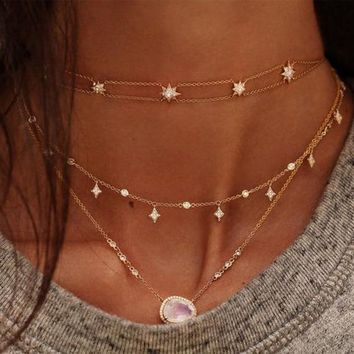 moonstones cz station jewelry chain elegant women stunning lovely necklace fashion Modern faced stone Chic necklaces