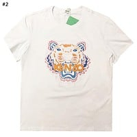 Kenzo Tide brand new embroidered tiger head men and women round neck shirt T-shirt #2