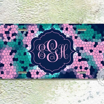 New License Plate - Mosaic on Soft Pink , Teal  and Tropez Blue monogram front car tag