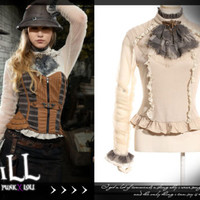 steampunk revolution victorian liverpool propeller cravat turtleneck top SP135 W