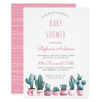 Watercolor Succulents Boho Baby Shower Invitation