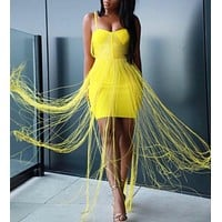 New Fashion High Quality Yellow Black Tassel Rayon Long Bandage Dress Celebrity Evening Party Dress