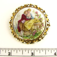 Porcelain Painted Pin of a Colonial Couple, Marked Limoges France