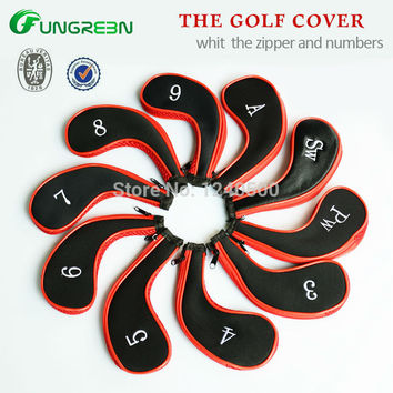 Free Shipping 10 Pcs/bag Golf Club Iron Covers Headcovers Neoprene Protector For Golf Sport, Black and red