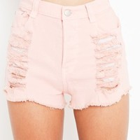 Slasher Flick Cutoff Short - Pink