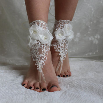 İvory Lace Barefoot Sandals,Beach Wedding Lace Shoes,Lace Barefoot Sandals,Wedding Anklet,Lace ,İvory Barefoot Sandals