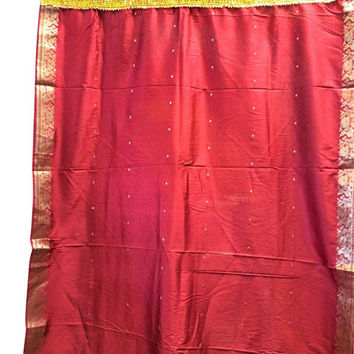 Sari Curtains Red Gold Brocade Silk Saree Drapes Window Panels
