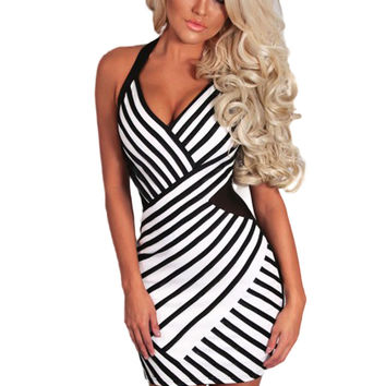 Backless Back Zipper Halter  Striped Sexy Bodycon Dress Short Pencil Club Dress Clubwear Open Back Micro Mini Dress SM6