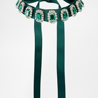 ASOS Emerald Jewel Ribbon Choker Necklace