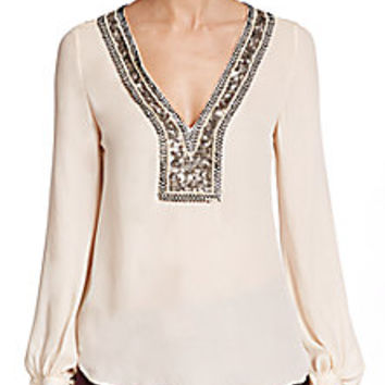 Haute Hippie - Chevron-Embellished Silk Blouse - Saks Fifth Avenue Mobile