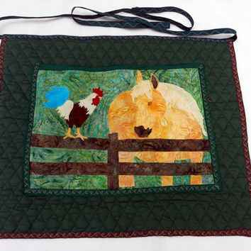 Happy Farm Art Quilt Apron for Dog Agility, Dog Obedience, Horse Training, Cooking, Gardening Apron - Appliqued Palomino Horse and Rooster