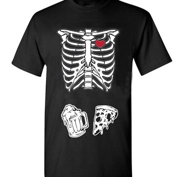 Skeleton Heart Love Beer And Pizza T-shirt - Novelty Tee