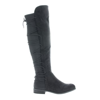Oksana118 Black By Wild Diva, Knee High Riding Boots w/ Stretchy Elastic Back Gore & Laced Design